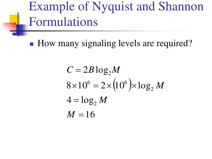 Example of Nyquist and Shannon Formulations