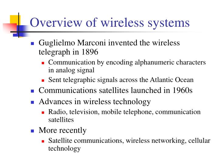 Overview of wireless systems
