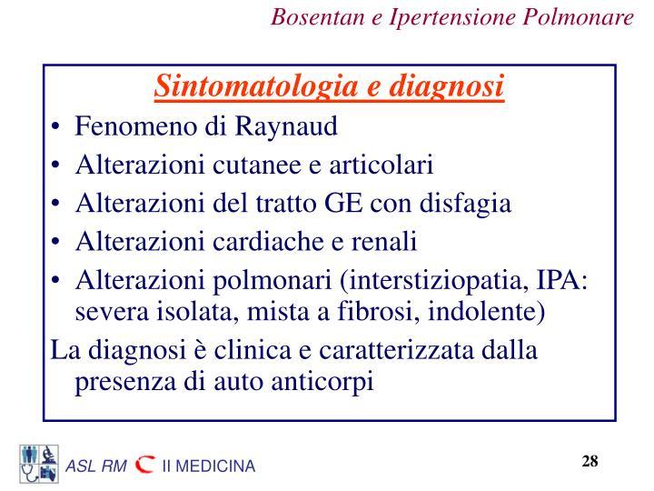 Sintomatologia e diagnosi