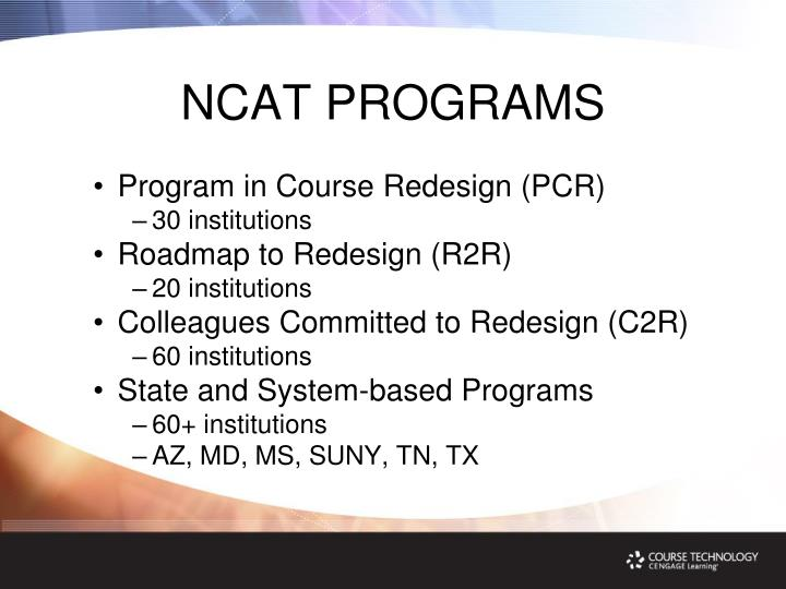 NCAT PROGRAMS