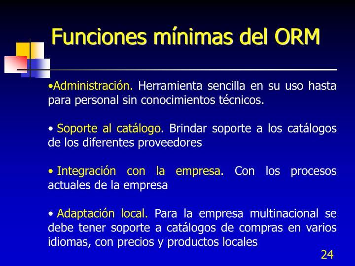 Funciones mínimas del ORM