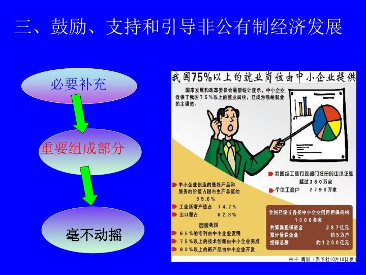三、鼓励、支持和引导非公有制经济发展