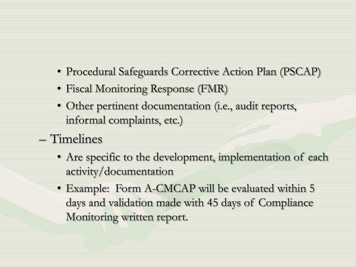 Procedural Safeguards Corrective Action Plan (PSCAP)