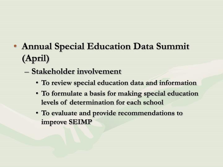 Annual Special Education Data Summit (April)