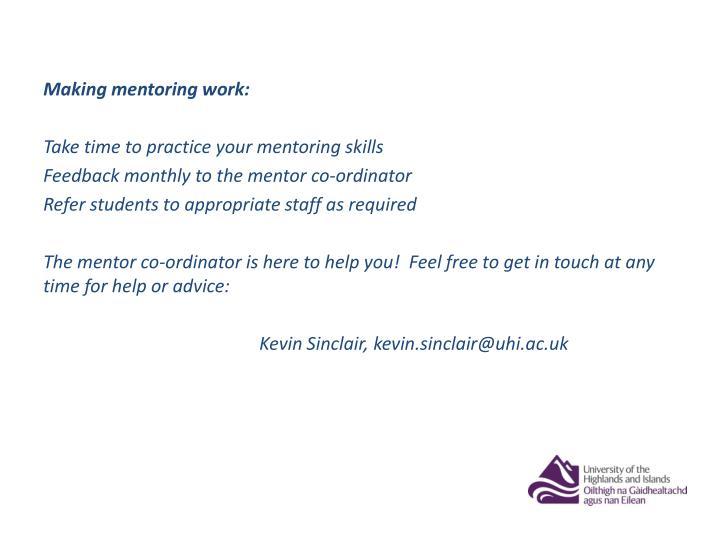 Making mentoring work: