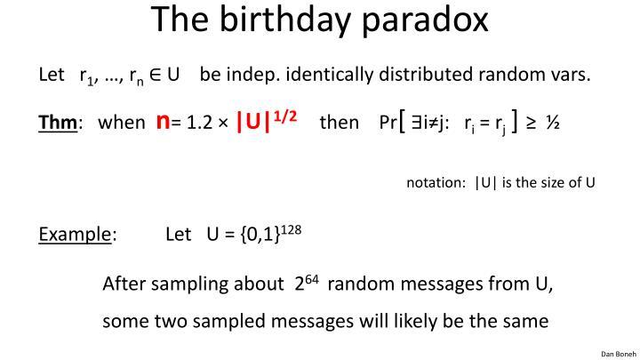 The birthday paradox
