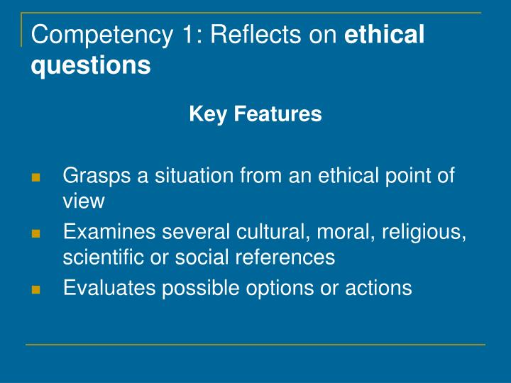 Competency 1: Reflects on