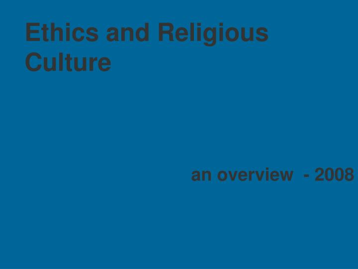 ethics and religious culture
