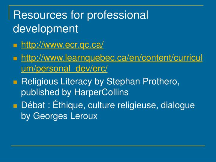 Resources for professional development
