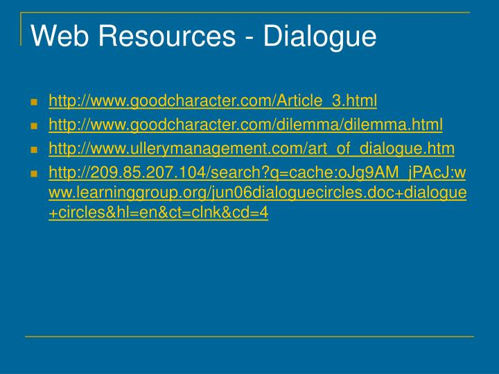 Web Resources - Dialogue