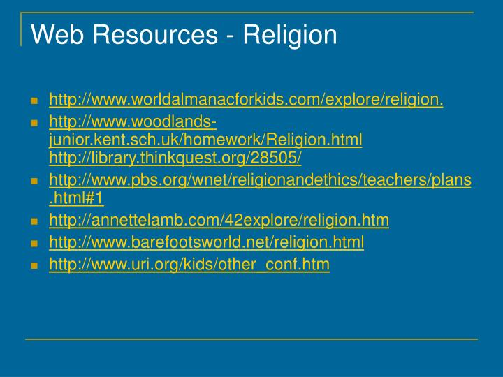 Web Resources - Religion