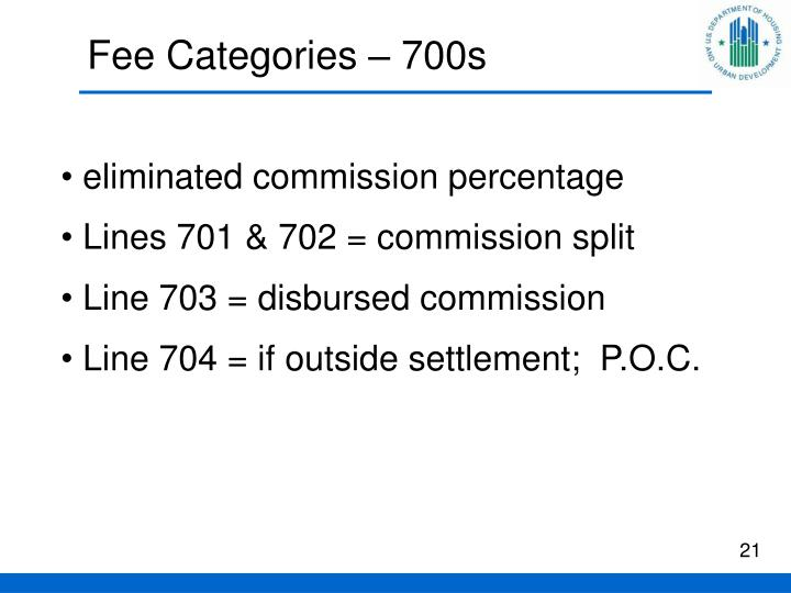 Fee Categories – 700s