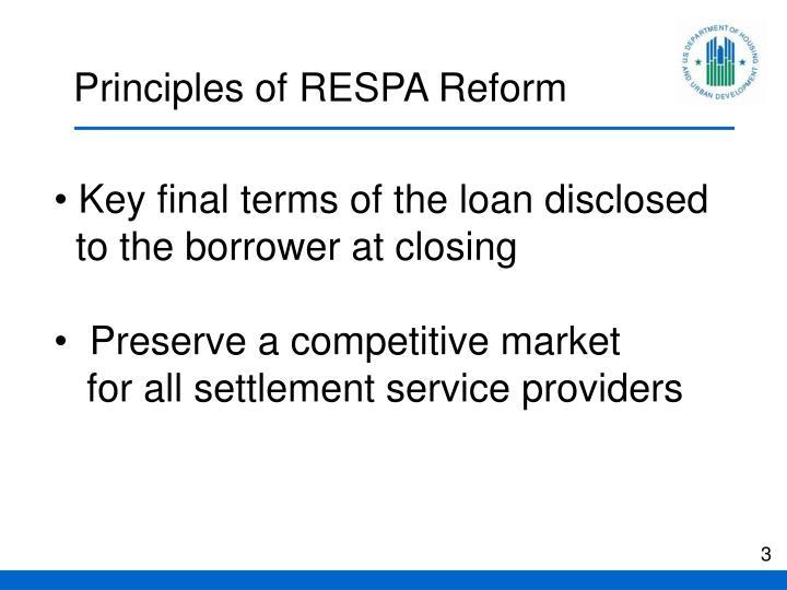 Principles of RESPA Reform