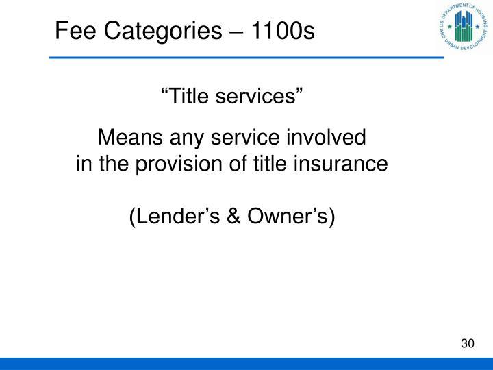Fee Categories – 1100s