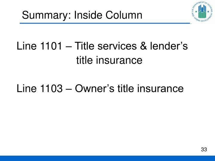 Summary: Inside Column