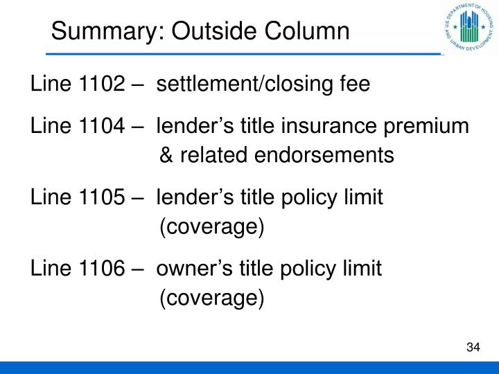 Summary: Outside Column