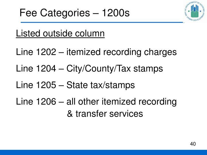 Fee Categories – 1200s