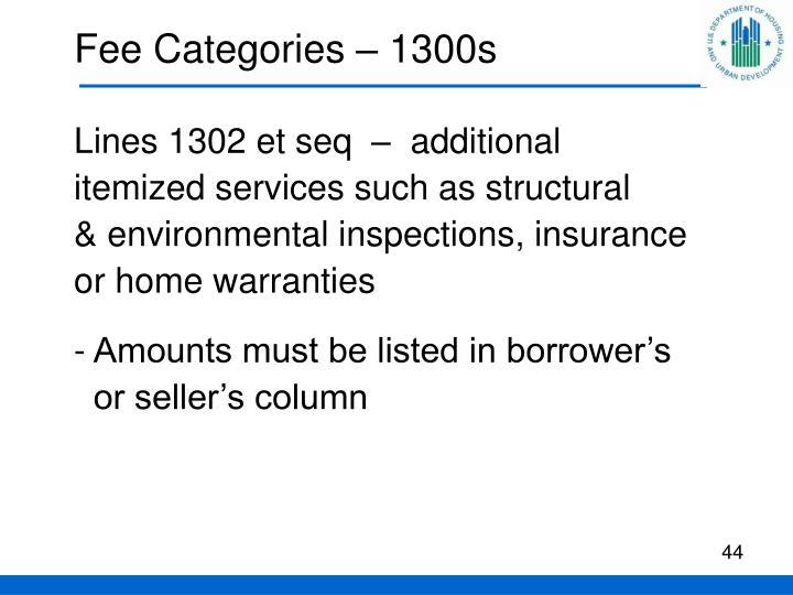 Fee Categories – 1300s