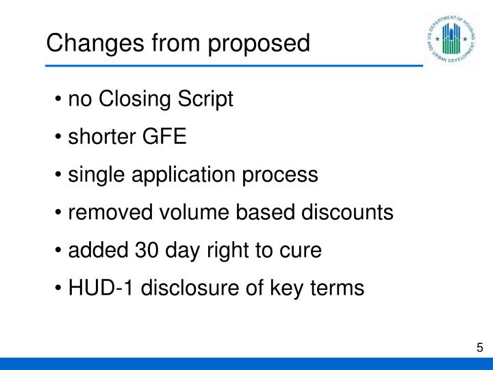 Changes from proposed