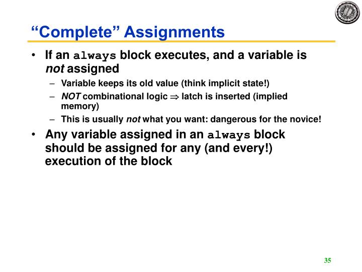 """""""Complete"""" Assignments"""
