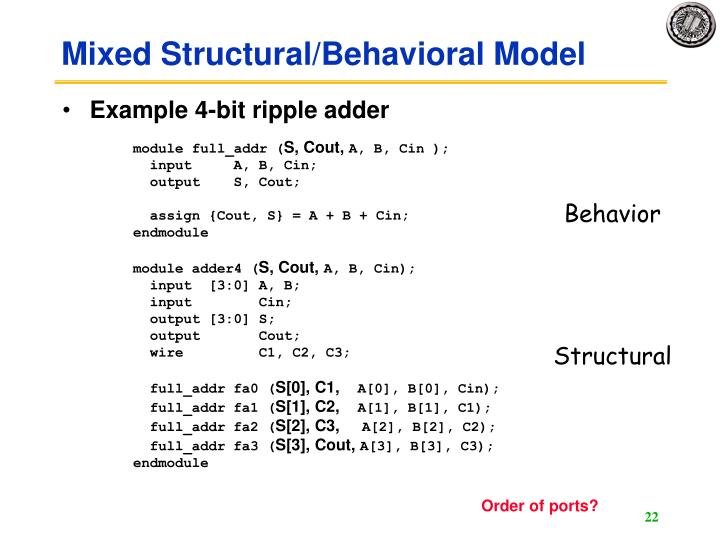 Mixed Structural/Behavioral Model