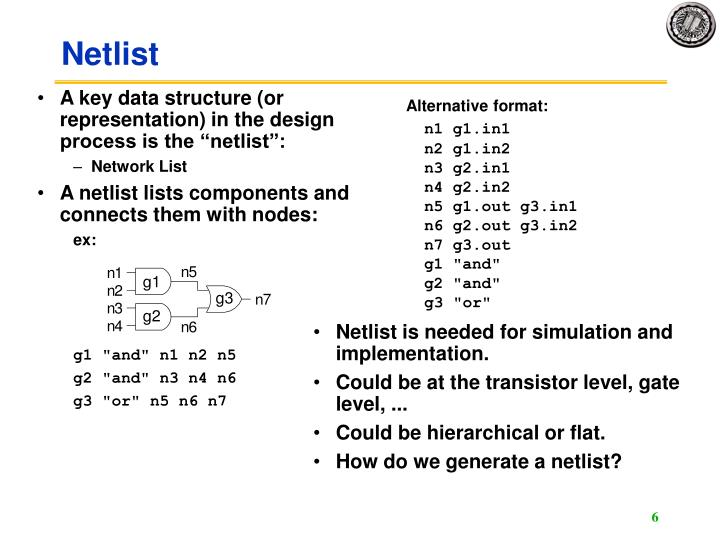 """A key data structure (or representation) in the design process is the """"netlist"""":"""