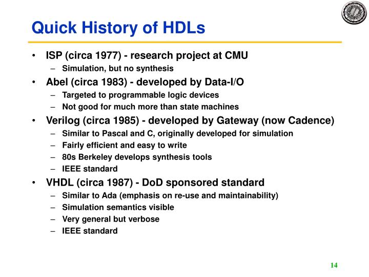 Quick History of HDLs