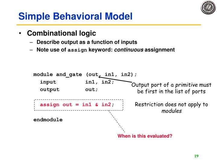 Simple Behavioral Model