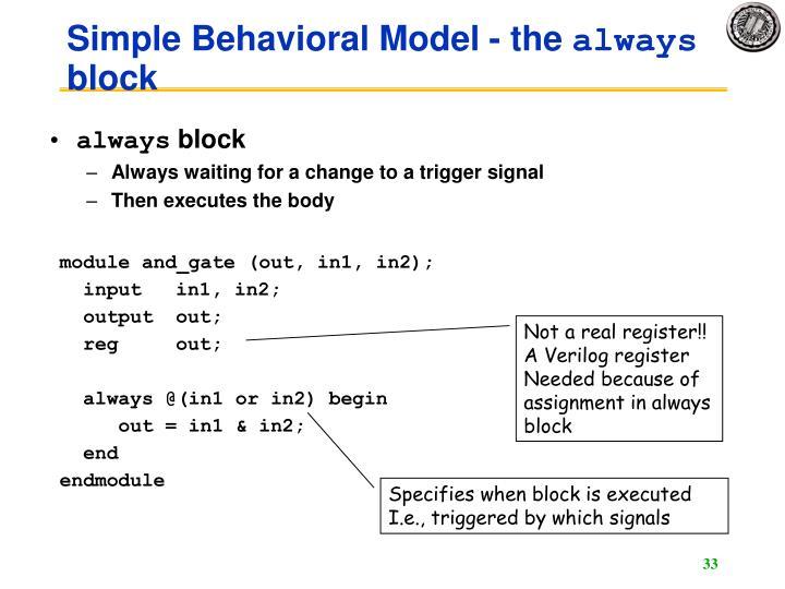 Simple Behavioral Model - the