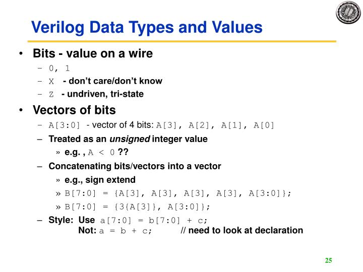 Verilog Data Types and Values