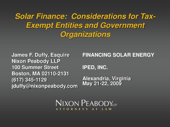 solar finance considerations for tax exempt entities and government organizations