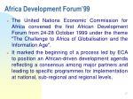 africa development forum 99