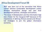africa development forum 991