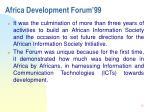 africa development forum 993