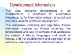development information