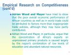 empirical research on competitiveness cont d