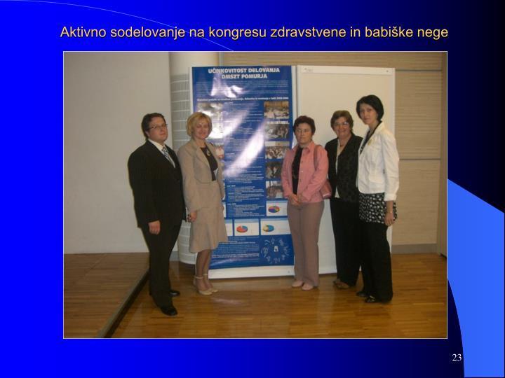 Aktivno sodelovanje na kongresu zdravstvene in babiške nege