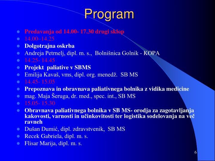 Predavanja od 14.00- 17.30 drugi sklop