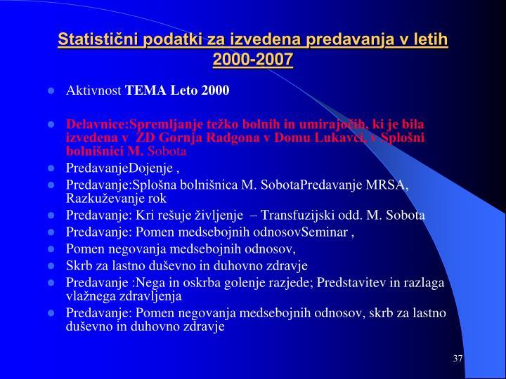 Statistični podatki za izvedena predavanja v letih 2000-2007