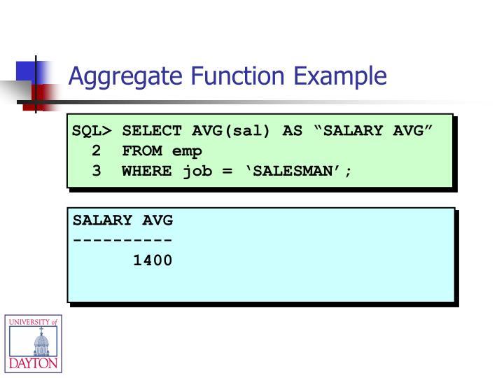 """SQL> SELECT AVG(sal) AS """"SALARY AVG"""""""
