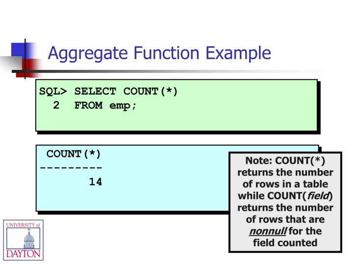 SQL> SELECT COUNT(*)