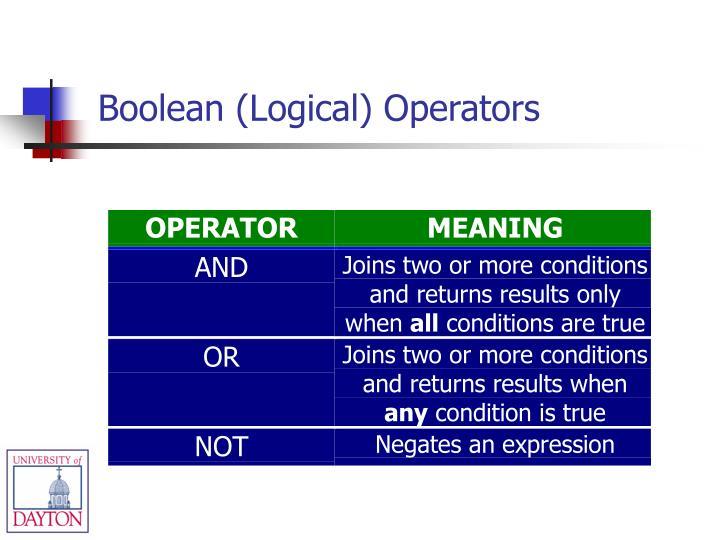 Boolean (Logical) Operators