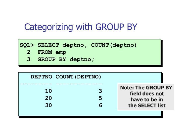 SQL> SELECT deptno, COUNT(deptno)