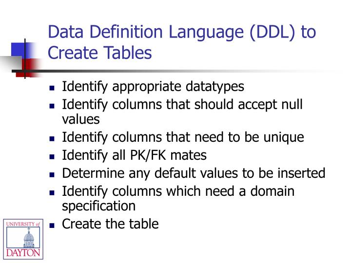 Data Definition Language (DDL) to Create Tables