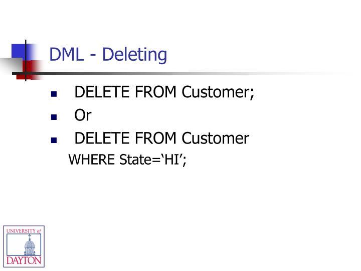 DML - Deleting
