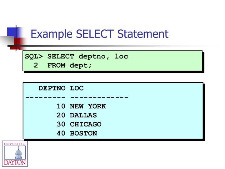 SQL> SELECT deptno, loc