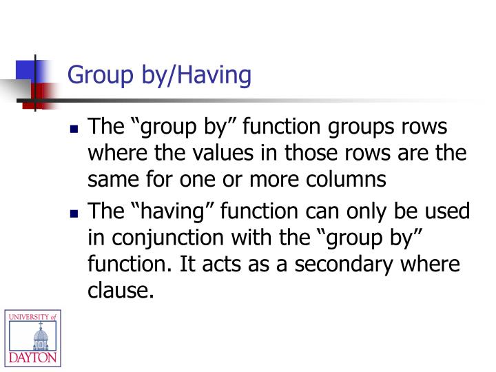 Group by/Having