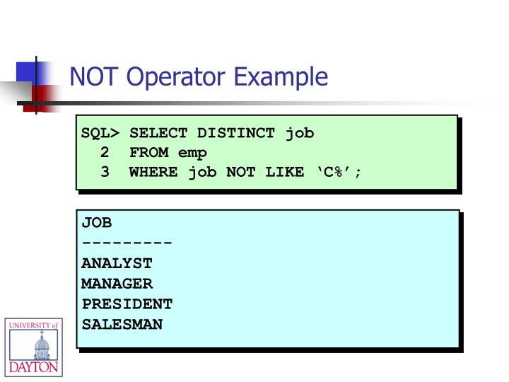 SQL> SELECT DISTINCT job