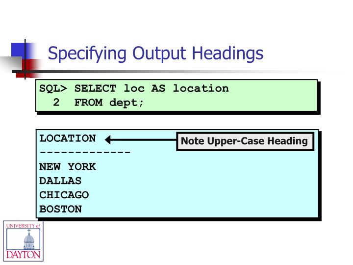 SQL> SELECT loc AS location