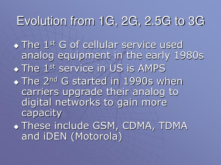 Evolution from 1G, 2G, 2.5G to 3G